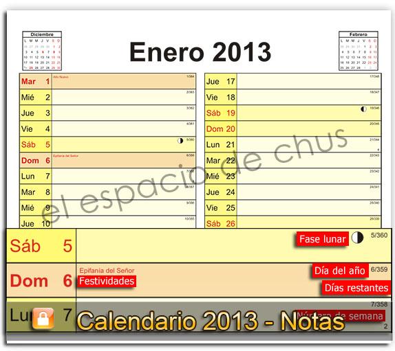 calendario mensual 2013 - notas