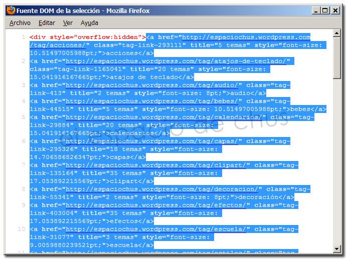 Ver código fuente seleccionado con Firefox