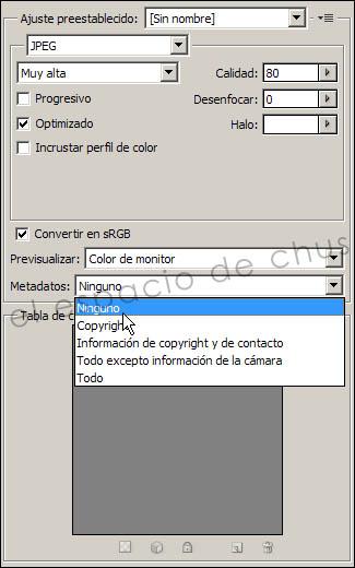 Photoshop: Guardar para Web - Metadatos